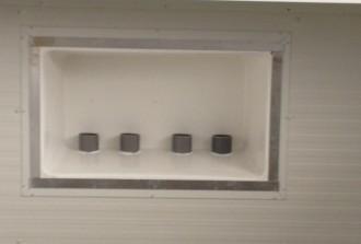 Koud stomen, uitblaas in plafond